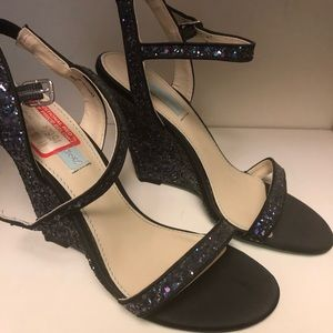 Betsey Johnson Glitter Party Heels - never worn